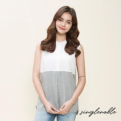 singlenoble 優雅不羈率性拼接設計無袖上衣(2色)