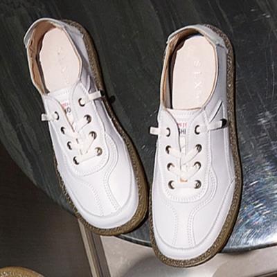 KEITH-WILL時尚鞋館-綁帶街頭時尚方頭小白平底鞋-白色