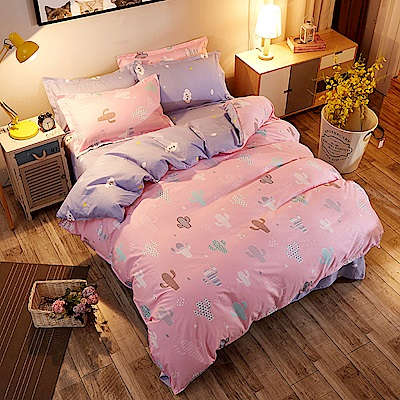 La Lune 台灣製經典超細雲絲絨單人床包枕套2件組 多肉仙人掌-粉