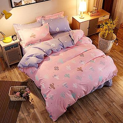 La Lune 台灣製經典超細雲絲絨雙人床包枕套3件組 多肉仙人掌-粉