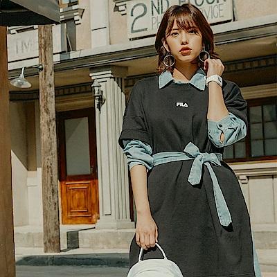 FILA #漢城企劃 女款純棉長版T恤-黑 5TET-1418-BK