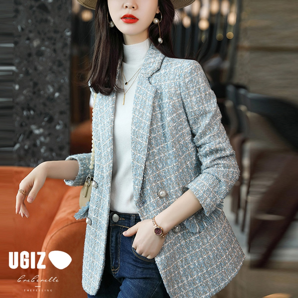 UGIZ-修身時尚經典百搭翻領造型西裝外套-3色(M-2XL)