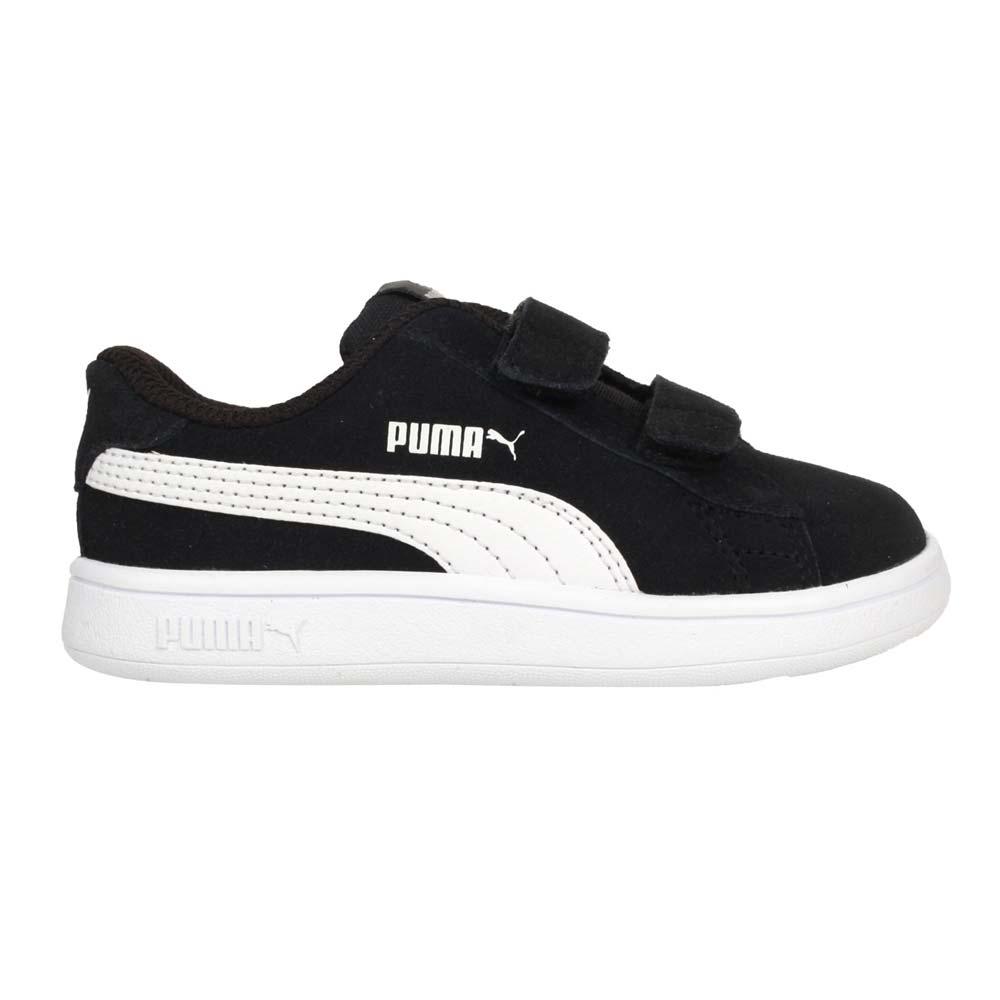 PUMA SMASH V2 SD V INF 男女小童休閒運動鞋-童鞋 魔鬼氈 麂皮 36517801 黑白