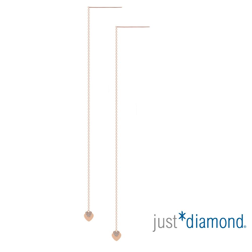 鎮金店 Just Diamond 鑽石玫瑰金 耳環-My Heart