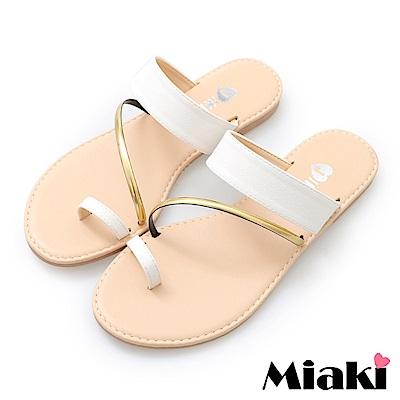 Miaki-涼鞋韓系時尚平底涼拖鞋-白色