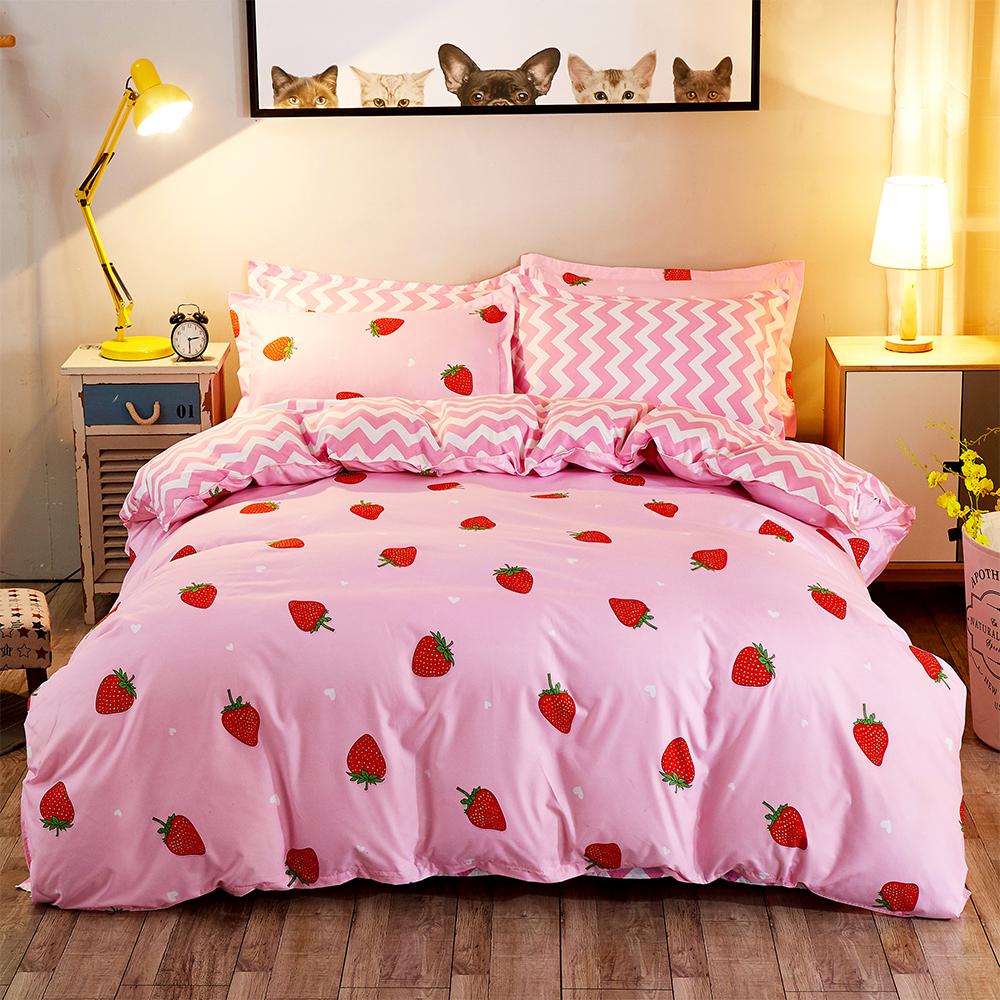 Ania Casa 小草莓 加大三件式 柔絲絨美肌磨毛 台灣製 加大床包枕套三件組