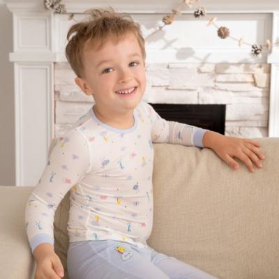 奇哥 長頸鹿圓領套裝/居家服-羊毛保暖布 3-4歲 (2色選擇)