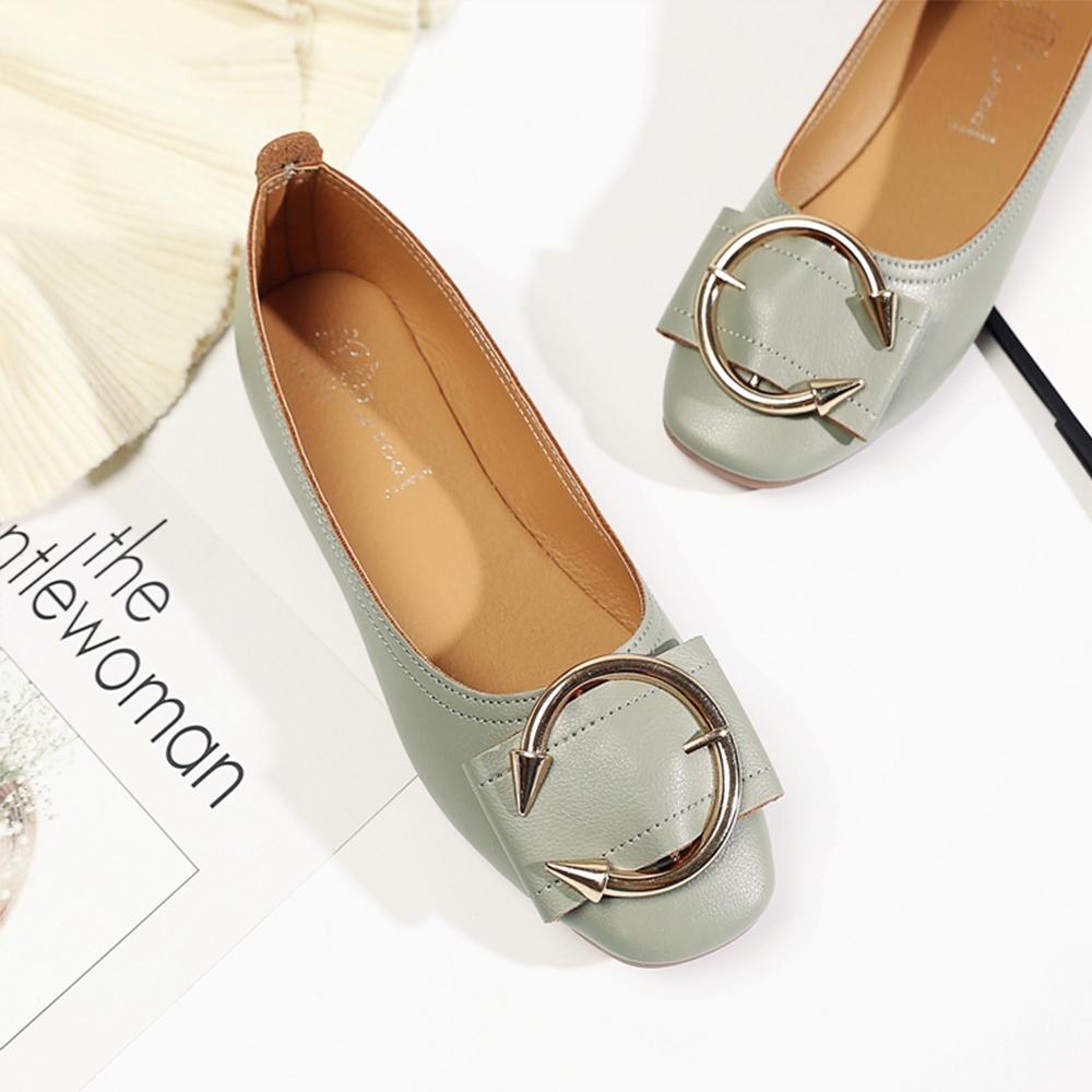 KEITH-WILL時尚鞋館 甜美誘惑皮帶扣平底鞋 綠
