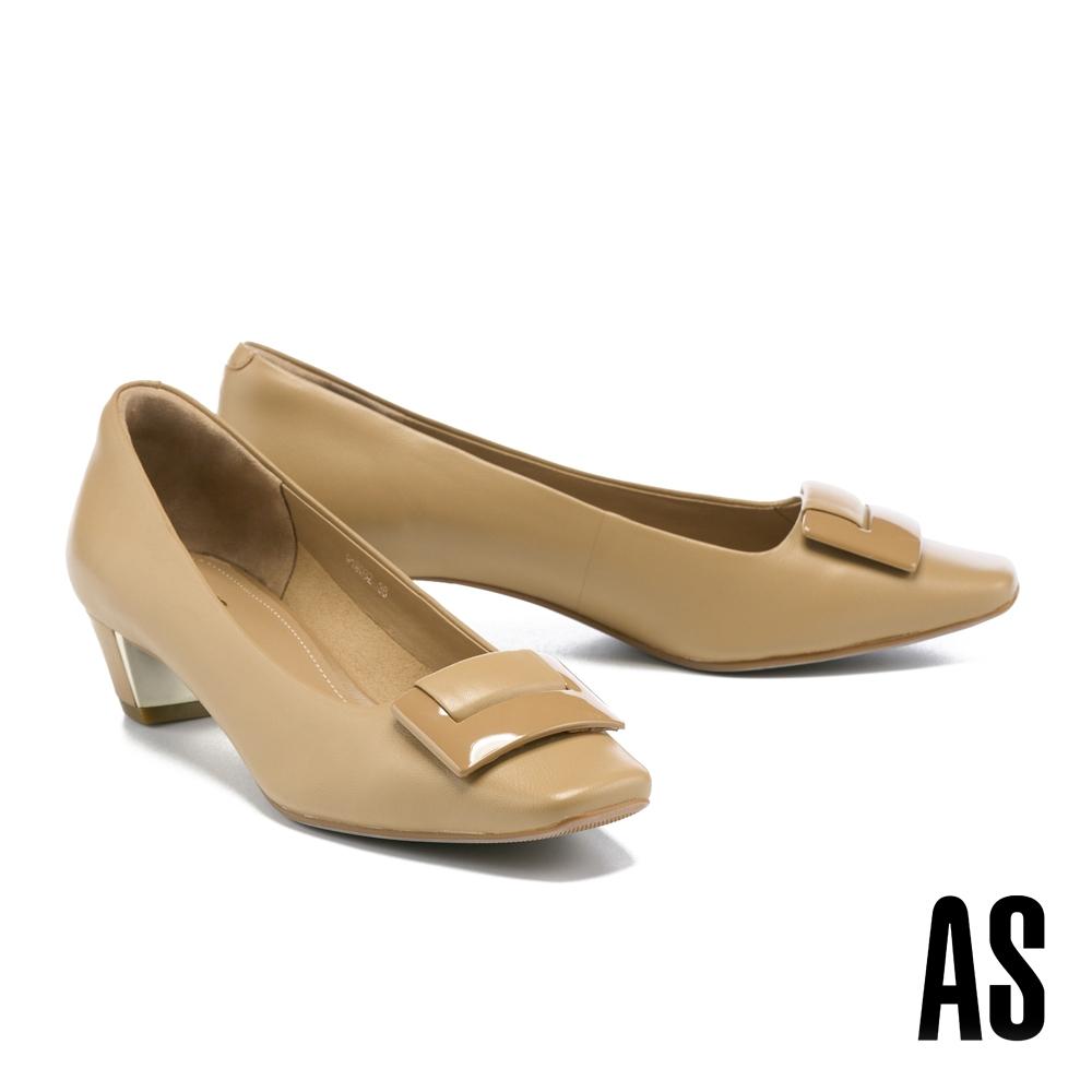 低跟鞋 AS 時髦別緻鏡面烤漆釦反摺羊皮方頭低跟鞋-杏