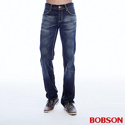 BOBSON 男款貓鬚刷白直筒褲