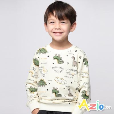 Azio Kids 男童 上衣 滿版恐龍閃電星星長袖上衣(米白)