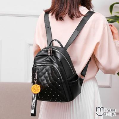 Mini嚴選-TAG時尚菱格繡線軟皮雙肩包 三色