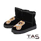 TAS 立體泰迪小熊前高後低絨布雪靴-經典黑