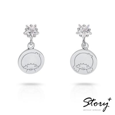 STORY故事銀飾-雙子星系列-KikiLala星光純銀耳環(白K金)