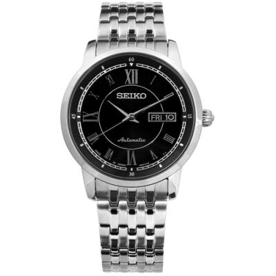 SEIKO 精工 PRESAGE 自動上鍊 藍寶石水晶 不鏽鋼機械手錶-黑色/39mm