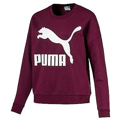PUMA-女性流行系列No.1 Logo圓領衫-濃暗紅-亞規