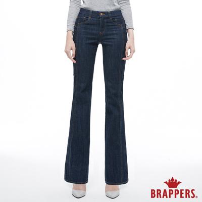 BRAPPERS 女款 新美腳ROYAL系列-中高腰彈性三角金鑽靴型褲-藍--動態show