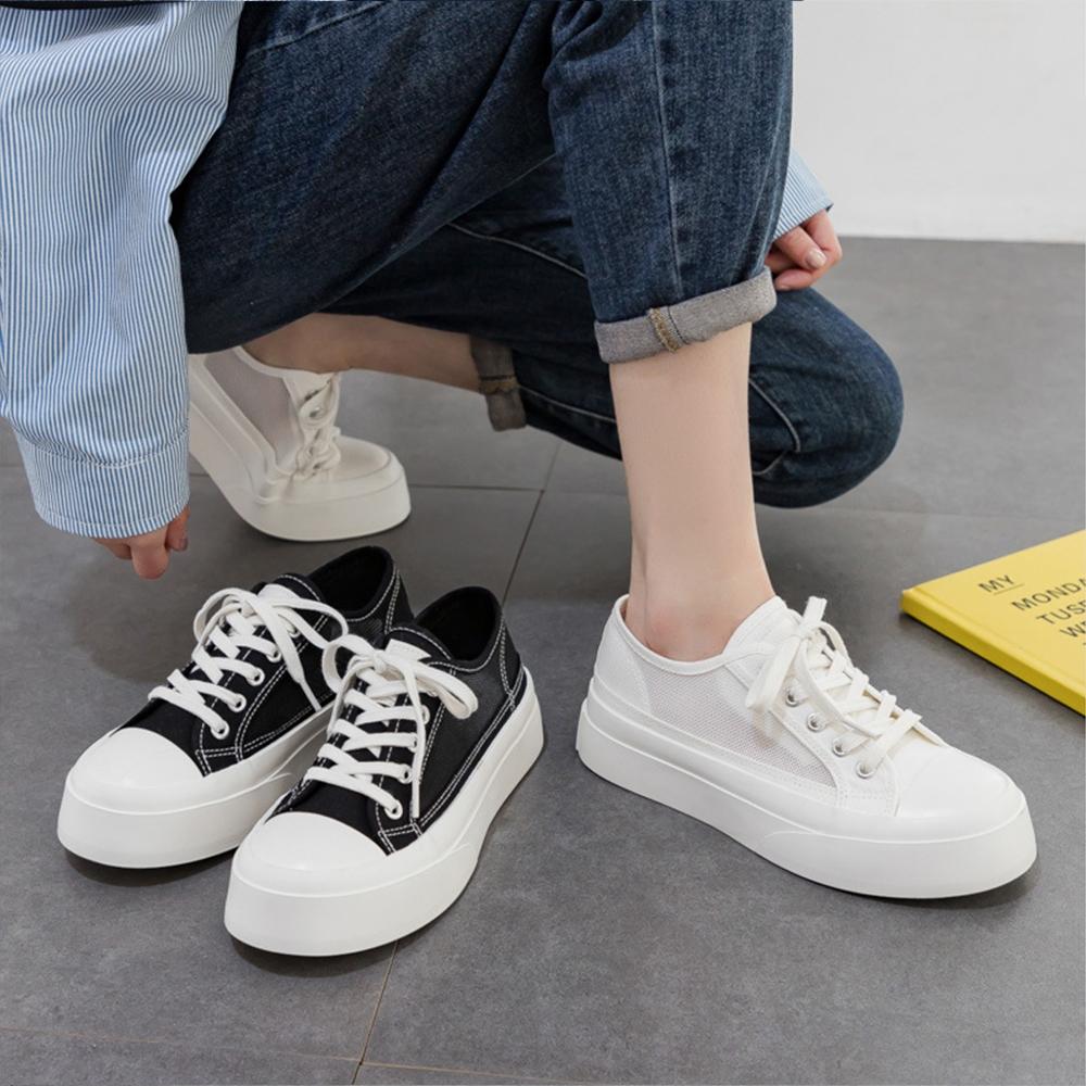 LN  現+預 韓版網面休閒帆布鞋(休閒鞋/厚底鞋) (白色)