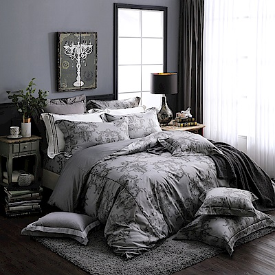 OLIVIA 奧汀 深灰 300織精梳純棉  加大雙人床包歐式枕套三件組