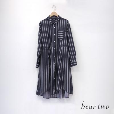 bear two- 條紋襯衫式長洋裝 - 黑