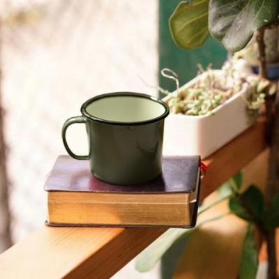 Homely Zakka 復古琺瑯 經典素色咖啡8號矮杯(灰綠)