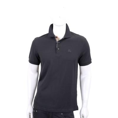 BURBERRY 格紋開襟棉質短袖Polo衫(黑色)