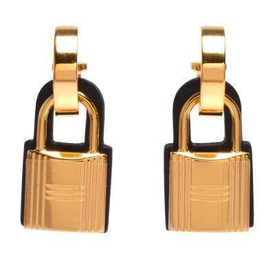 HERMES 經典O Kelly系列鎖頭造型穿式耳環(黑X金)