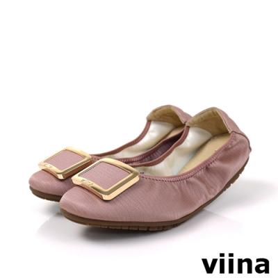 viina 方頭蜥蜴紋金邊方釦摺疊娃娃鞋-藕粉