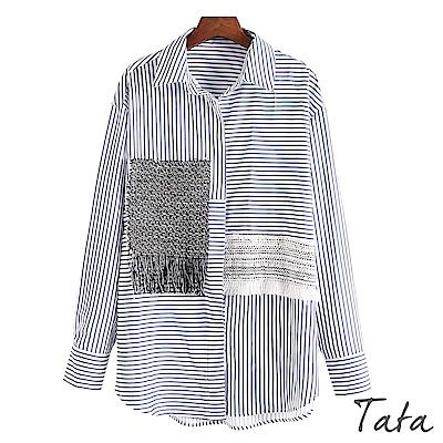 拼接編織流蘇條紋襯衫 TATA