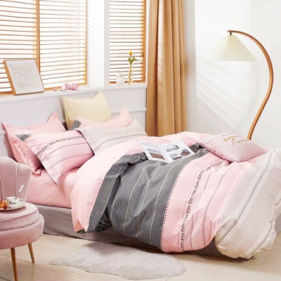 A-ONE 雪紡棉  雙人加大床包/枕套三件組-粉愛條紋
