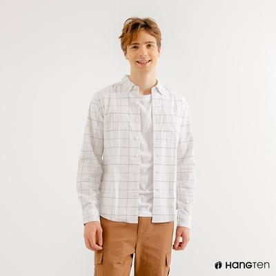 Hang-Ten-男裝-牛津紡簡約時尚襯衫-米白格紋