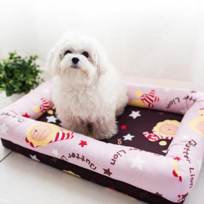 奶油獅-台灣製造-保暖布套可拆洗-搖滾星星寵物記憶床墊-特大(25kg以上適用)-淡紫咖啡