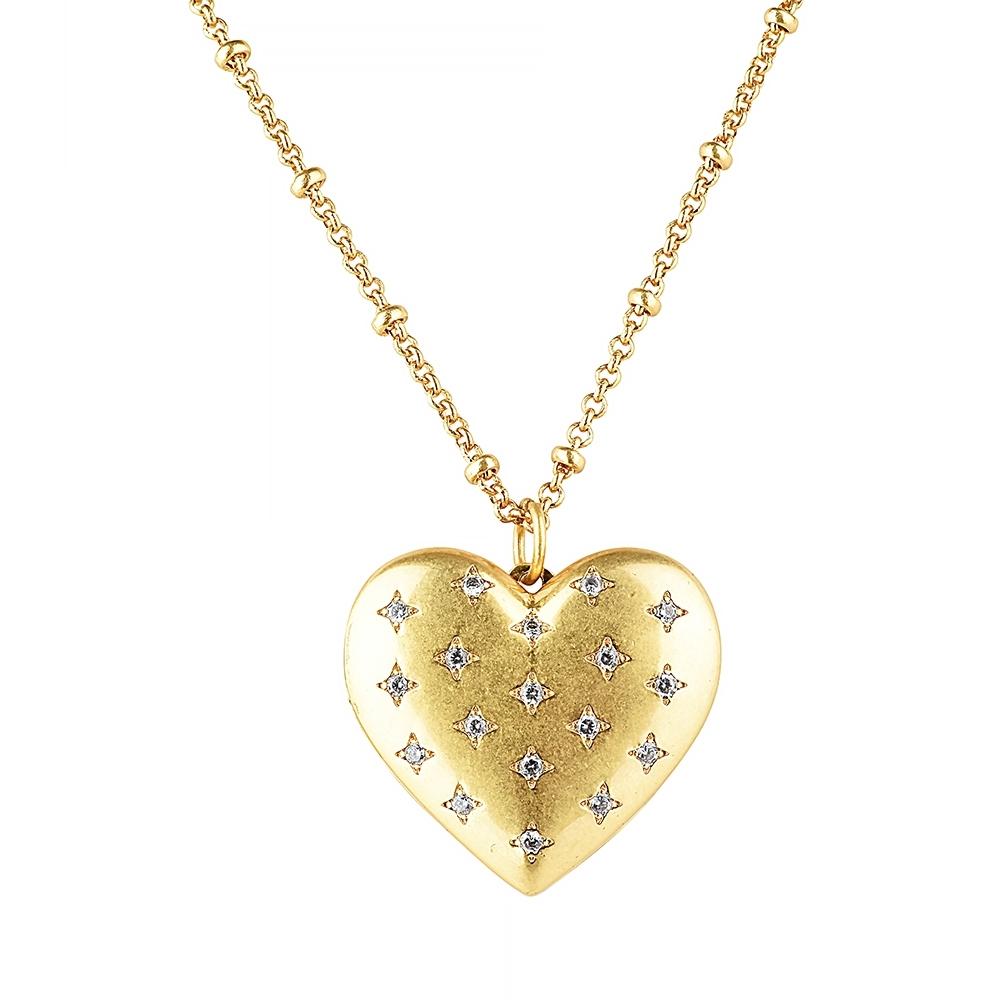 kate spade經典吊墜愛心設計鑽鑲飾項鍊(金)