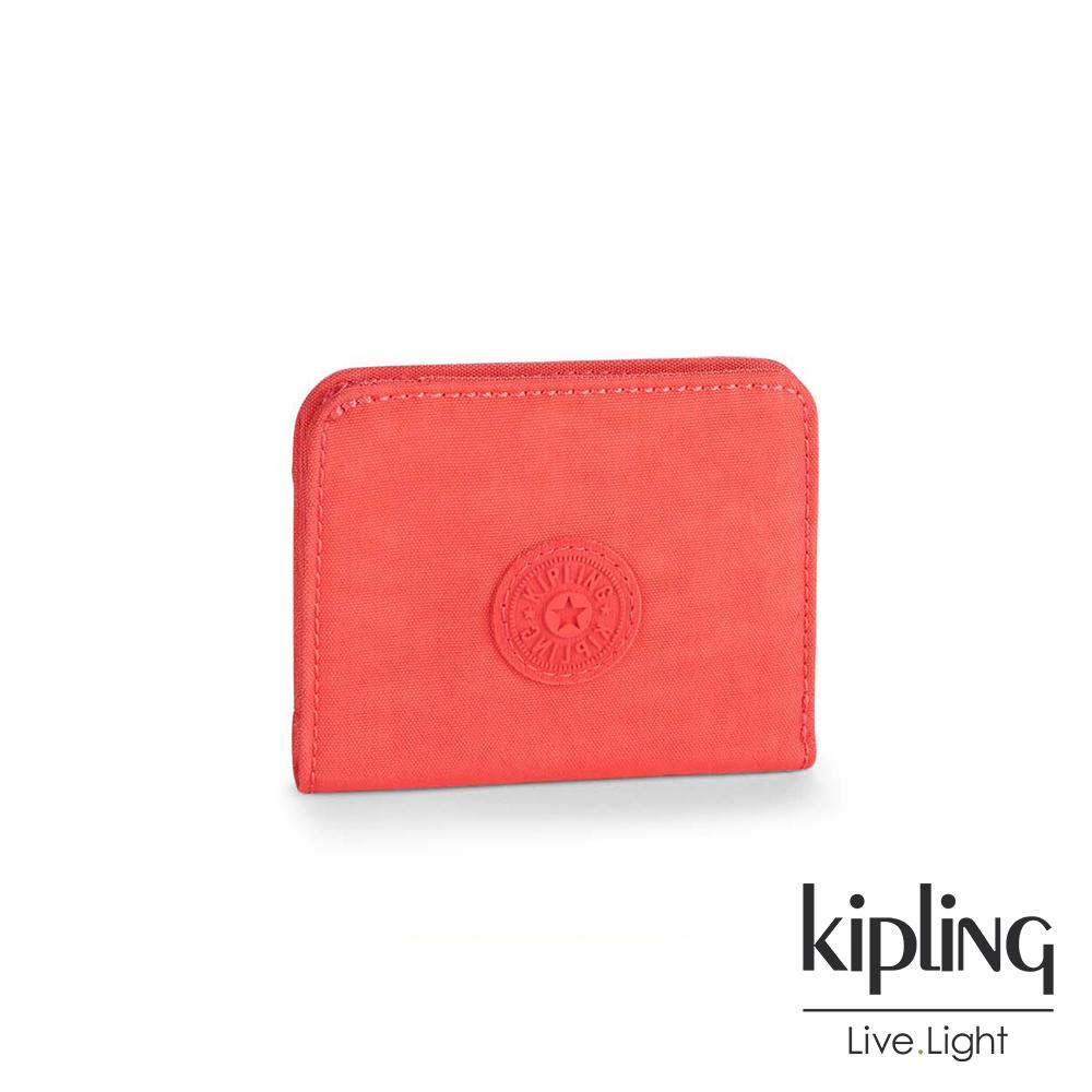 Kipling 零錢包 柿子澄素面-小