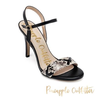 Pineapple Outfitter 氣質牛皮一字帶細高跟涼鞋-蛇皮黑
