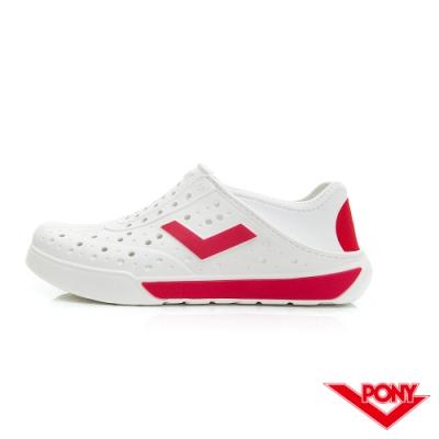 【PONY】ENJOY輕量透氣洞洞鞋 雨鞋 懶人鞋 涼鞋 男女鞋 國旗配色白/紅