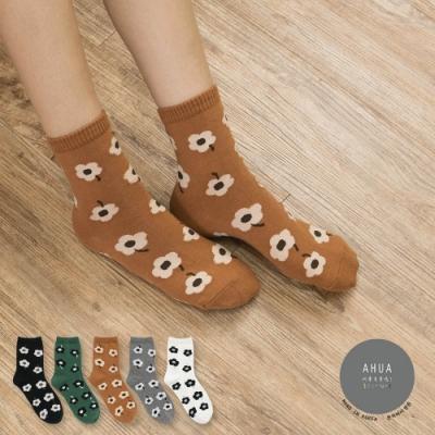 阿華有事嗎  韓國襪子 古著可愛滿版花朵中筒襪  韓妞必備 正韓百搭純棉襪