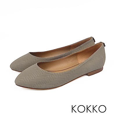 KOKKO -經典彎折柔軟羊皮素面平底鞋-毛線灰