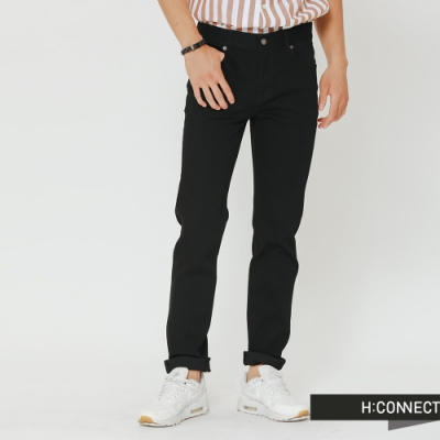 H:CONNECT 韓國品牌 男裝-簡約修身長褲-黑(快)