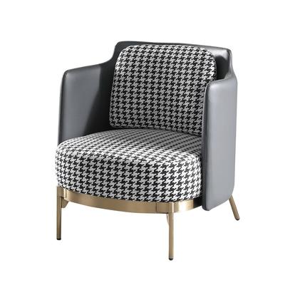 【文創集】馬爾地夫 簡約灰亞麻布&皮革單人座沙發椅-78x75x80cm免組
