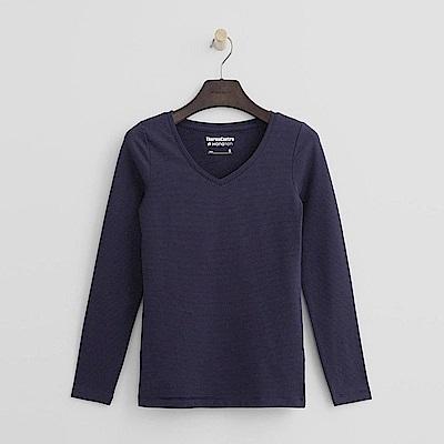 Hang Ten - 女裝-ThermoContro恆溫多功能智慧暖溫V領上衣-藍