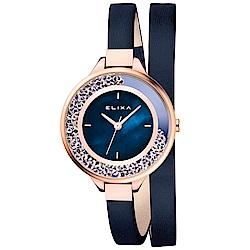 ELIXA Finesse系列星辰藍晶鑽錶盤/皮革纏繞式錶帶34mm