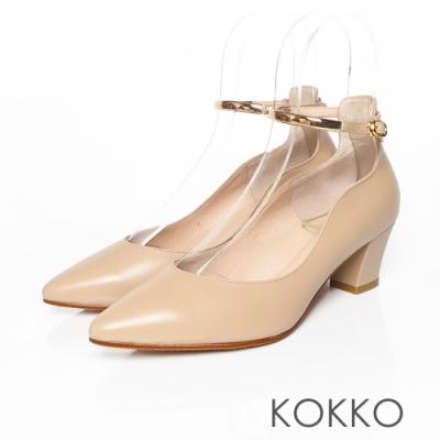 KOKKO - 經典手工羊皮繫帶粗跟鞋 - 氣質裸