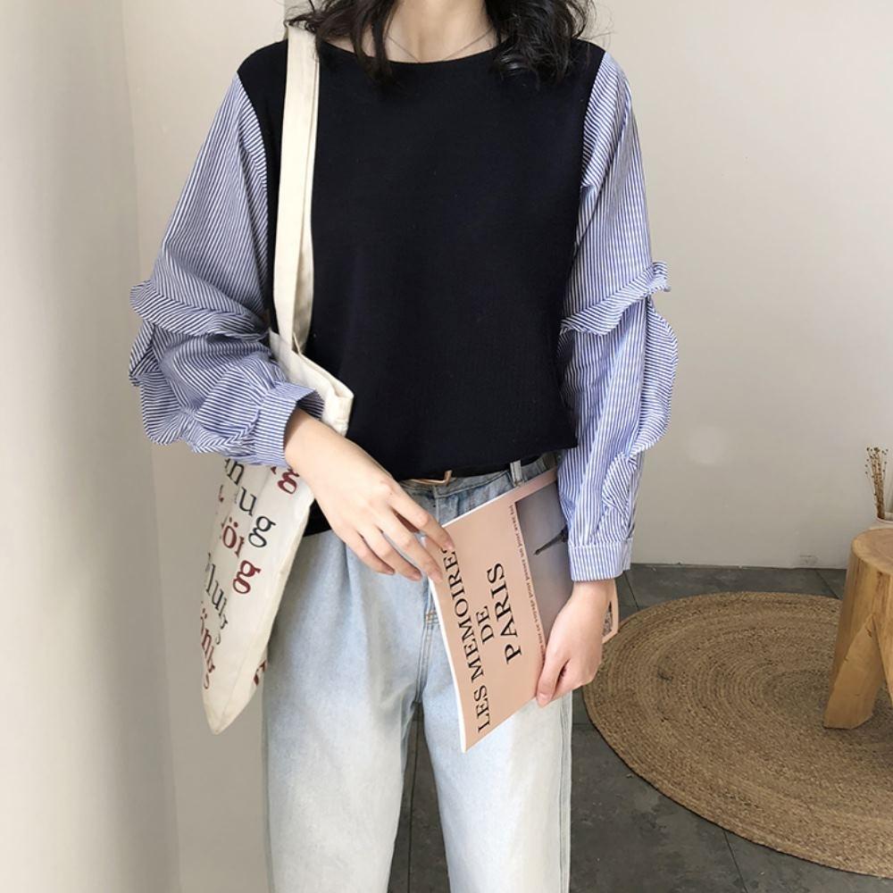 La Belleza假兩件拼接荷葉波浪袖藍色條紋背拼接條紋襯衫上衣
