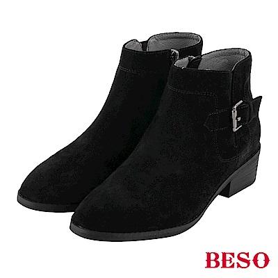BESO 話題時尚 方釦微尖頭短靴~黑