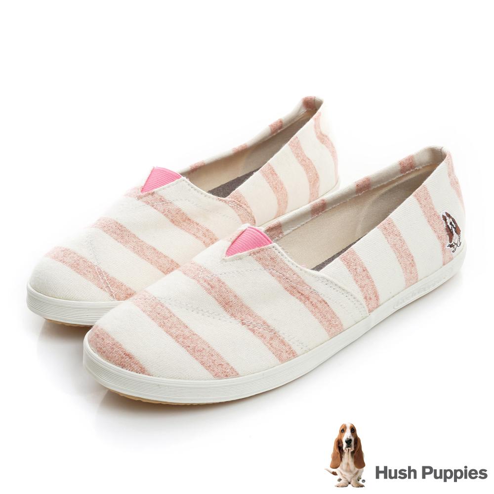 Hush Puppies 清爽條紋咖啡紗懶人鞋-粉色
