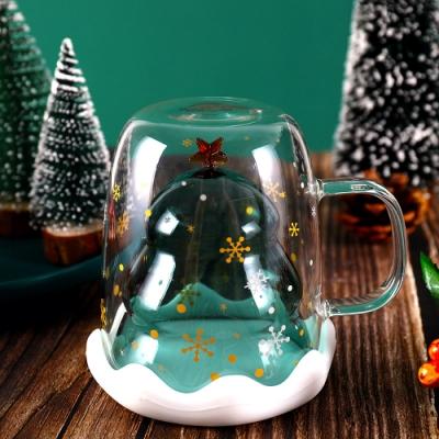 EZlife聖誕歡樂耐熱雙層玻璃杯(2入組)贈可調光造型燈