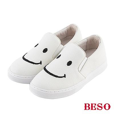BESO 純真年代 閃耀笑臉休閒鞋(童鞋)~白
