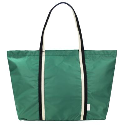 agnes b. 條文織布鐵環尼龍肩背包-綠