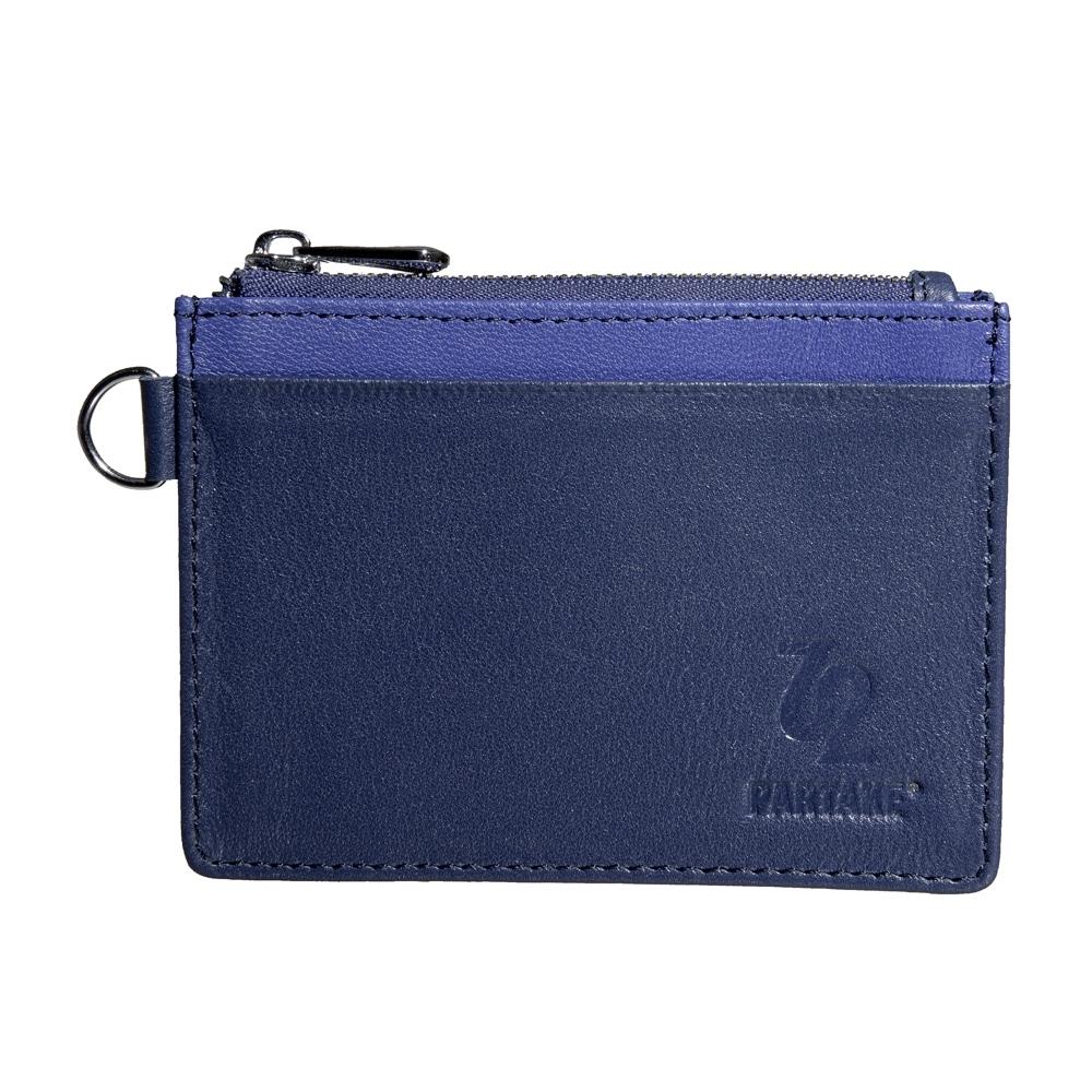 【PARTAKE】真皮票卡夾零錢包-藍 PT18-12NY